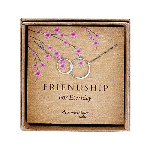 Friendship for Eternity Necklace – Sterling Silver Interlocking Infinity 2 Circle Necklace Gift Jewelry for Best Friend
