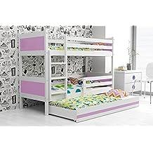 LITERA INFANTIL TRIPLE (3 camas) 190x80, color blanco (LOS PANELES EN VARIOS COLORES) (violeta)