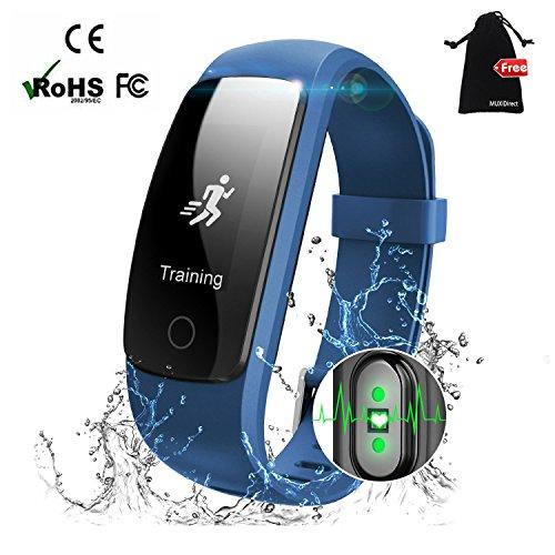 Fitness tracker montre, Muxi Smart montre avec moniteur de fréquence cardiaque, compteur de calories montre d'étanchéité, écran tactile Full Leep tracker, Bluetooth suivi d'activité, connecté GPS de course, Sports podomètre montre avec...