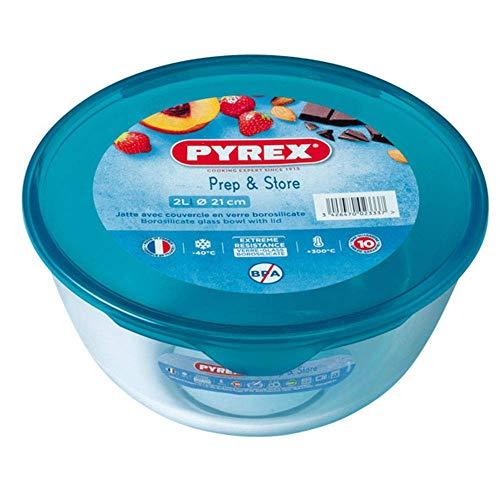 PyrexBol 2 l avec couvercle en verre borosilicate résistant aux taches