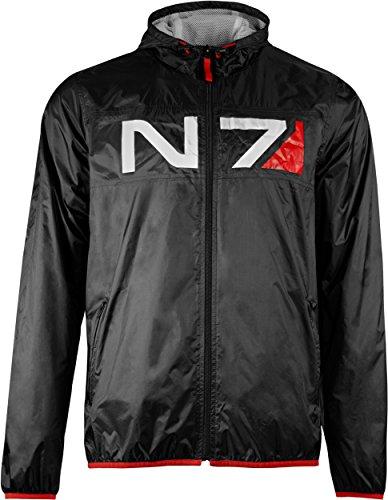 ect Jacke Herren N7 Training leichte Regenjacke Windbreaker Übergangsjacke schwarz XXL (N7 Mass Effect Kostüm)
