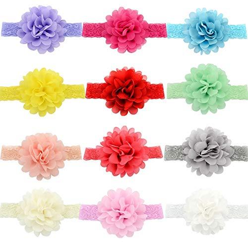 aby Mädchen Stirnbänder mit Blumen Babys Chiffon Stirnbänder Weiche dehnbare Spitze Haarbänder Stirnband Baby Mädchen Blumen Haarband baby für Babys Neugeborenes Kleinkinder Kinder ()