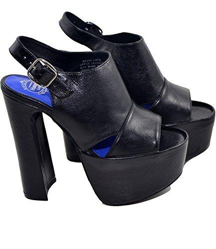 Jeffrey Campbell Beane2 Leather, Sandales Noires Pour Femmes Avec Talon