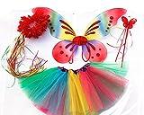 Tante Tina - Schmetterling Kostüm für Mädchen - 4-teiliges Set - Feenflügel / Schmetterlingsflügel Verkleiden - Regenbogen mit Haarkranz