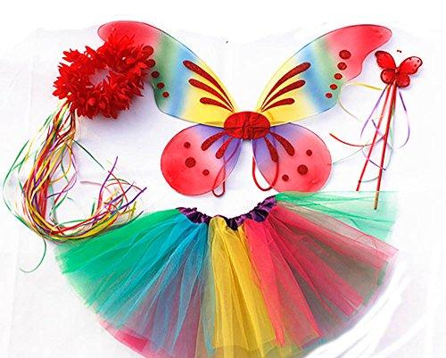 (Tante Tina - Schmetterling Kostüm für Mädchen - 4-Teiliges Set - Feenflügel / Schmetterlingsflügel Verkleiden - Regenbogen mit Haarkranz)