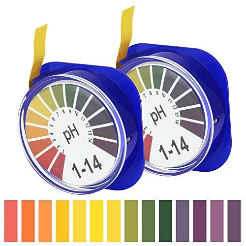 TANCUDER Universal pH Testpapierstreifen 0-14 Indikatorpapier Lackmuspapier PH Indikator Lackmus Test Papier PH Teststreifen Indikatorstreifen 5m Lang 2 Rolle (blau)