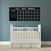 (160x 71cm) Pizarra Vinilo Adhesivo decorativo para pared con diseño de calendario lista de tareas/Pizarra borrable Mural/Mes Planificador Adhesivo para dibujar + Free Crayons Caja