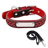 ITODA Personalisierter Halsband Set mit Hundeleine in Verschiedenen Farben Größe Edelstahl Name Marke mit Wunschgravur Outdoor Leder Halsband für Haustiere zu Spazieren Training Reisen Rot XS