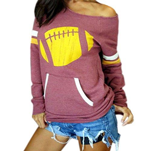 Fashion Encolure longue en coton a manches Blouse Femmes Casual Shirt T-Shirt Rouge