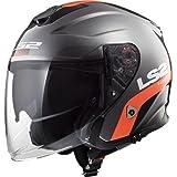 LS2 casco da moto, titanio/arancio, taglia L