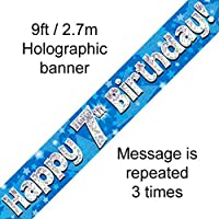 7th Birthday Blue Holographic Banner by Signature Balloons