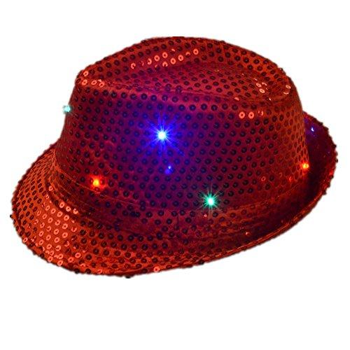 Preisvergleich Produktbild Namsan Jazz-Hut / Party-Hut, mit 9 blinkenden und farbenfrohen LEDs beleuchtet, mit Pailletten besetzt, rot