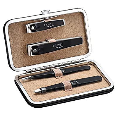 LiSmile Nail Clippers for Men, 4 Pcs Nail Clippers Set Tweezers Set High Precision Tweezers and Fingernail Toenail Clippers Set with Leather Travel Case for Eyebrow Plucking and Nail Trimming