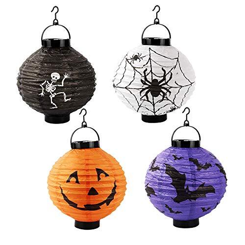 Halloween Papier Lampions Kürbis Set, 4 Pack Papier Laterne Halloween Dekorationen Hängeleuchte für Urlaub Party Decor Scary Light