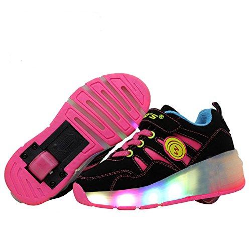 LILY999 Unisex Kinder LED 7 Farbe Farbwechsel Lichter blinken Shoes Schuhe Flügel-Art Rollen Verstellbare Schlittschuhe Skateboard Lnline Sneaker Einzelnes Rad Jungen Mädchen - 2