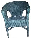 Stuhl blau Rattansessel Korbsessel Rattan Sessel Stuhl Stühle Korbstuhl