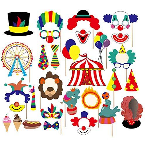 Amycute 49 PCS lustige Partei Fotorequisiten Clown Photo Booth Props Kit Zirkus Photo Booth Carnival Party Foto Requisiten für Karnevals-Partei, Hochzeit, Geburtstag und Abschlussfeier.