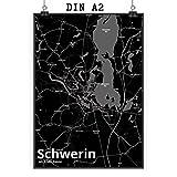 Mr. & Mrs. Panda Poster DIN A2 Stadt Schwerin Stadt Black -