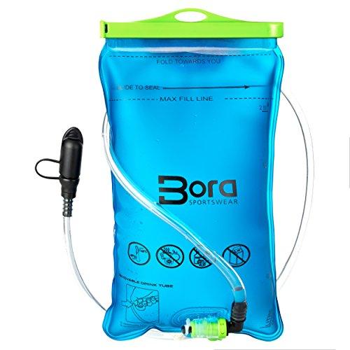 Premium Trinkblase 2L mit Beissventil - BPA-frei, antibakteriell und auslaufsicher für jeden Trinkrucksack geeignet von Bora Sportswear - hochwertiges Trinksystem 2 Liter für Sport & Freizeit (Von Große Oben-rucksack Öffnung)