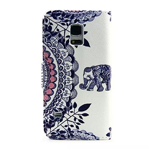Sunroyal Chic Klapptasche Wallet Case Kunstlederhülle für Samsung Galaxy Grand Prime G530/G530H/G530FZ/G5308W/G5309W/G5306W SM-G530FZ - Cover Flip Tasche Schwarz Design Luxus Magnetic Flip Case mit Ka Pattern 04