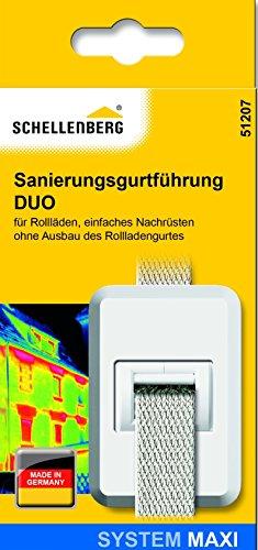 Schellenberg 51207 Sanierungs-Gurtführung DUO Maxi für Rolladengurte mit Zugluftdichtung, Sanierungsgurtführung, Weiß