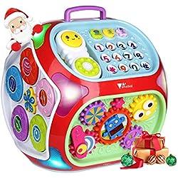amzdeal Cubo de Actividades, 7 en 1 Estudio Educacional Electrónico de Niño Juguetes Musicales para niños de 1 a 4 años de Edad (versión en inglés)