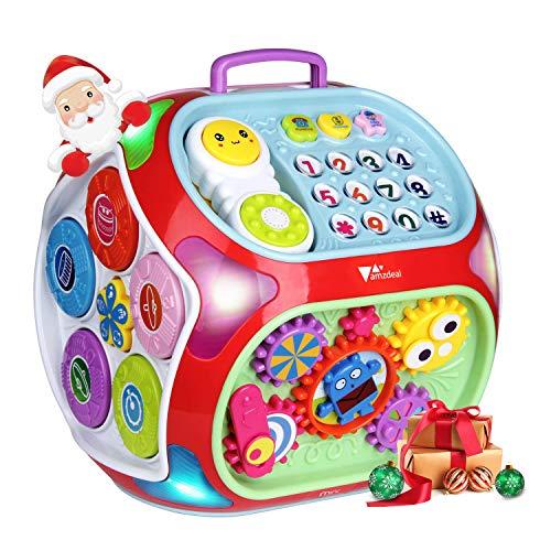 Amzdeal giocattoli educativi elettronico per bambini,giocattoli di attività innovativo con 7 tipi di gioco interattivi che crescono con il bambino, dai 6 mesi