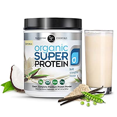 Organic Super Protein - Best Vegan Plant Based Protein Powder, Creamy Vanilla - Organic MCTs, Omegas, Digestive Enzymes & Superfoods (20 Servings) by Touchstone Essentials