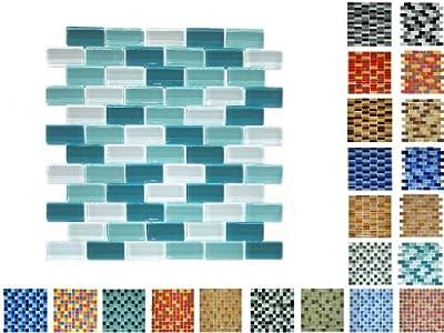 1 Netz Glasmosaik Bricksize Glanz Dunkel Gruen Mix von Mosaikdiscount24 auf TapetenShop