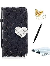 TOUCASA Funda iPhone 8 Plus,Funda iPhone 7 Plus, PU Cuero Suave Diseño de Patrón de Amor del corazón Diseño de líneas a Rayas y Cuadros Magnético Funda para iPhone 8 Plus/iPhone 7 Plus-Negro