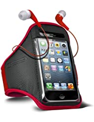 Fone-Case HTC One M7 verstellbaren Sport Fitness Jogging Arm Band Hülle & 3,5 mm In-Ear-Ohrhörer Basis Kopfhörer (Rot)