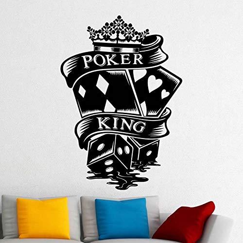 yaoxingfu Poker King Kreative Muster Wandaufkleber Für Glücksspiel Haus Hintergrund Kunst Dekoration Vinyl Wandtattoos Casino Wohnzimmer schwarz 57X78 cm