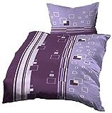 Gerald Wittmann 2 TLG. Microfaser Bettwäsche, Modern Kariert Lila/Violett/Flieder, 140x200 cm + 70x90 cm