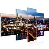 Bilder Stadt Köln Wandbild 200 x 100 cm Vlies - Leinwand Bild XXL Format Wandbilder Wohnzimmer Wohnung Deko Kunstdrucke Blau 5 Teilig -100% MADE IN GERMANY - Fertig zum Aufhängen 601551a
