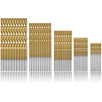 Estmoon 100 Pcs Brocas helicoidales, HSS con revestimiento de titanio de brocas helicoidales de alta velocidad 1/1.5/2/2.5/3mm DIY herramientas de perforación profesional para madera, plástico y Metal