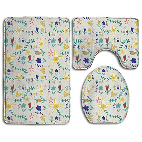 Pillowcase Wholesale Tortoise And The Hare Floral Beige Bath rug Sets 3 Piece for Bathroom Non Slip Bath Mat Washable Absorbency