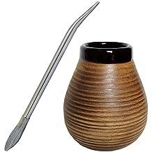 Set Mate e Bombilla Tazza Grande in Ceramica con Forma Naturale e Strisce