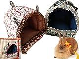 Mkouo Haustier Haus und Sofa, Faltbare Weich Warm Hamster Kaninchen Nest Höhle Bett, Hündchen Kätzchen Chinchilla Hängematte, 2 Größen, 25,4x25,4x20,3 cm/L