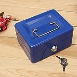 Geldkassette MOHOO Kassette Sicherheit Tresor Edelstahl Spardose tragbare kleine Kassette Kasse mit Schloss und 2 Schlüssel Transportkassette (Blau)