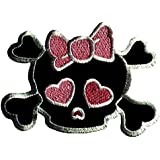 "Negro y Pink Girl Cráneo Punk Emo parche ""7.5 x 7.5 cm ''- Parche Parches Termoadhesivos Parche Bordado Parches Bordados Parches Para La Ropa Parches La Ropa Termoadhesivo Apliques Iron on Patch Iron-On Apliques"