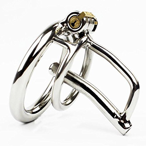 Keuschheitskäfig Discreet Male Chastity Cage Heavy Duty Stainless Steel Chastity Device with Welded Penis Plug Not for Everyone (Ring Ø 40 mm)