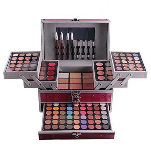 132 Farben Schmink Set Make-up Kit Geschenk Kosmetik Set, FantasyDay 94 Warme Natürliche Lidschatten Palette mit Concealer, Gesicht Puder, Rouge, Lippenstift, Augenbrauenpuder und Eyeliner #1 (Eyeliner-geschenk-set)