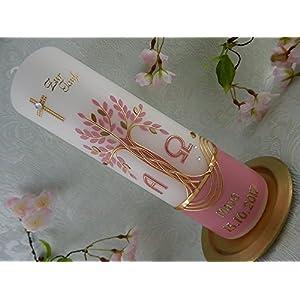 Taufkerze Lebensbaum altrosa gold handmade Wachs Taufkerzen für Mädchen 250/70 mm mit Name