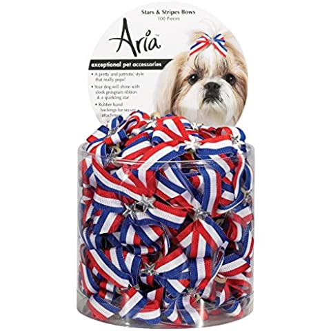 Aria Stars and Stripes Bows for Dogs, 100-Piece Canisters by Aria
