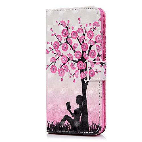 Lanveni Handyhülle für iPhone 6 Plus / iPhone 6S Plus Hülle Flip Case Cover PU Lederhülle Schutzhülle Magnetverschluss Ledertasche mit Stander Function Brieftasche Card Slot Handy Tasche mit Bunte Mus Farbe 1
