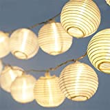 LED Lampion Lichterkette - 5,5 Meter | Mit Netzstecker NICHT batterie-betrieben | 15 LEDs warm-weiß | Kein lästiges austauschen der Batterien |...
