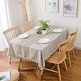 Furnily Rechteck Dekoration Tischdecke 140 cm x 200cm Baumwolle Leinen elegante Tischdecke mit Quaste Edge Staubdichte waschbare Küchentischabdeckung für Speisetisch (Leinen) - 6