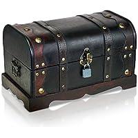 Brynnberg - Caja de Madera Cofre del Tesoro con candado Pirata de Estilo Vintage, Hecha a Mano, Diseño Retro 31x18x18cm