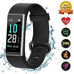 KUNGIX Montre Connectée, Fitness Tracker étanche IP68 avec écran tactile couleur de 0,96 pouces, Montre Cardiofréquencemètre Podomètre Calorie tracker d'activité Homme Femme