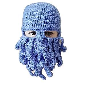 Tomister Winter Warm Neuheit Unisex Strick-Bartmütze Lustige Oktopus-Maske Bartmütze Häkelmütze für Halloween Party